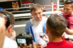 Golovkin talks to media