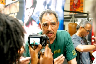 Trainer Abel Sanchez talks to media