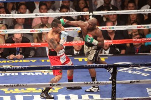Floyd connect with a right hand